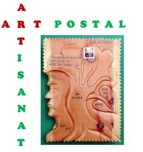 ART POSTAL & ARTISANAT + timbre bois - fond vert